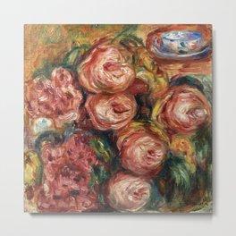 """Auguste Renoir """"Composition aux roses et à la tasse de thé (Composition with roses ...)"""" Metal Print"""