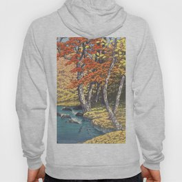 Japanese Woodblock -  Autumn in Oirase by Kawase Hasui, 1933 Hoody