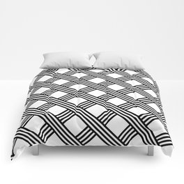 Diagonal Black and White Stripes Grid Lattice Pattern, Minimal Graphic Design Comforters