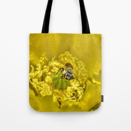 Rainy Day Cactus Flower Bee Tote Bag