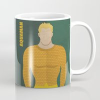 aquaman Mugs featuring Aquaman by Loud & Quiet