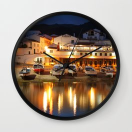 Harbour at dusk Wall Clock