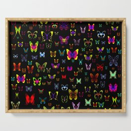 Numerous colorful butterflies on a neutral background Serving Tray
