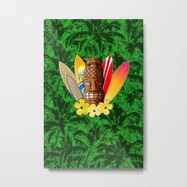 Surfboards And Tiki Mask Palm Trees Metal Print