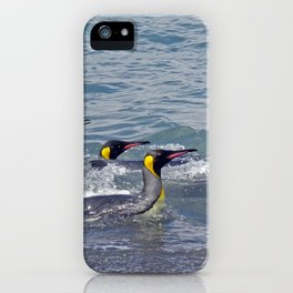 Swimming King Penguins iPhone Case
