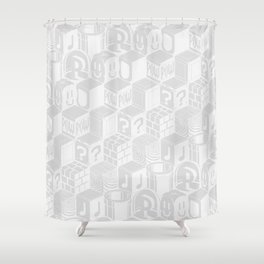 SUPER MARIO BLOCK-OUT! (White Edition) Shower Curtain