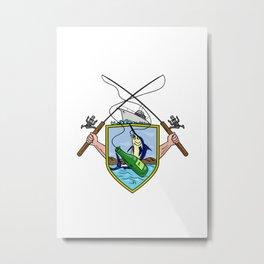 Fishing Rod Reel Blue Marlin Beer Bottle Coat of Arms Drawing Metal Print