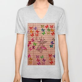 Rustic brown wood floral dear head cute butterflies Unisex V-Neck