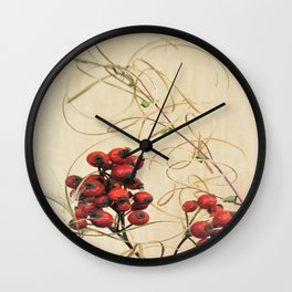 red fruits and dry grass Wall Clock