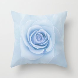 Soft Baby Blue Rose Abstract Throw Pillow