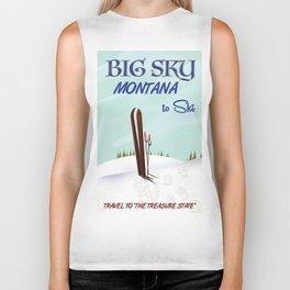 big sky Montana ski vintage travel poster Biker Tank