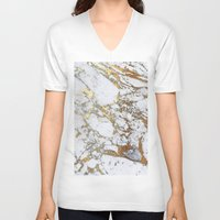 white marble V-neck T-shirts featuring Gold Marble by Jenna Davis Designs