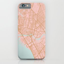 Pink and gold Manila map iPhone Case
