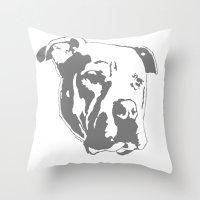 pitbull Throw Pillows featuring COACH - GREY by Kirk Scott
