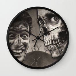 Ash with Skull and Cross - Evil Dead 2 Charcoal and Graphite Drawing Art Wall Clock