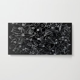 White ink, black card board. Graphic art, ink spring flowers Metal Print