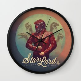 Star Lord and the Raptor 4 Wall Clock