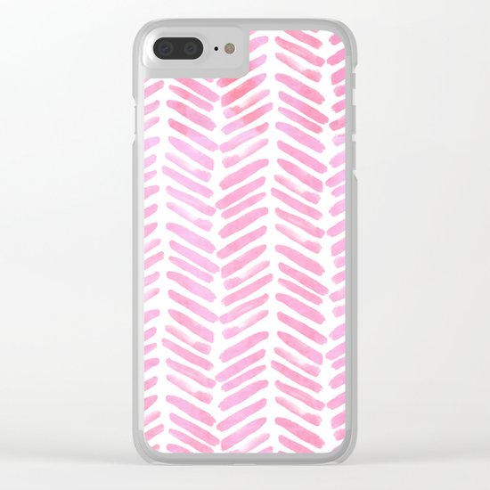 Handpainted Chevron pattern - pink and pink ;) Clear iPhone Case