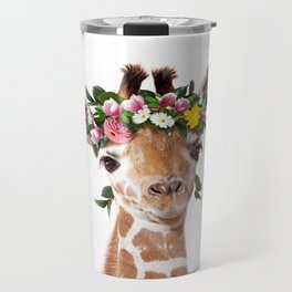 Baby Giraffe With Flower Crown, Baby Animals Art Print By Synplus Travel Mug