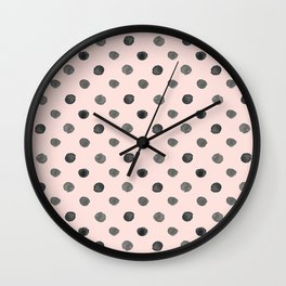 Hand drawn grey dots on pink - Mix & Match with Simplicty of life Wall Clock