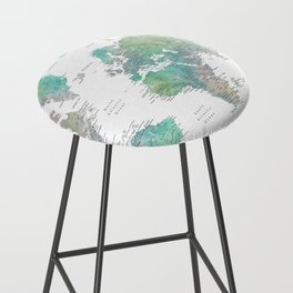 Watercolor world map in muted green and brown Bar Stool