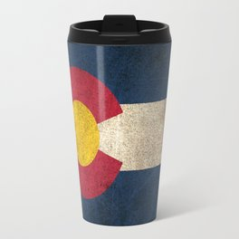 Old and Worn Distressed Vintage Flag of Colorado Travel Mug