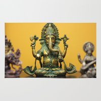 ganesha Area & Throw Rugs featuring Ganesha  by Justin Atkins