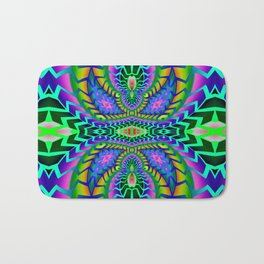 Tribal Rainbow Lotus Bath Mat