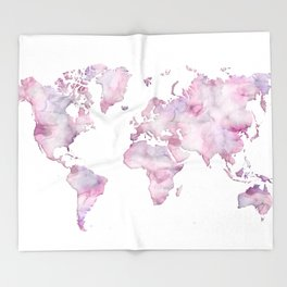 Lavander and pink watercolor world map Throw Blanket