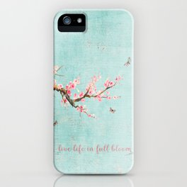 Live life in full bloom - Romantic Spring Cherry Blossom butterfly Watercolor illustration on aqua iPhone Case