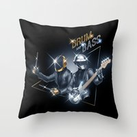 drum Throw Pillows featuring Drum & Bass by ajinda