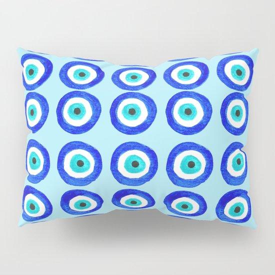 Evil Eye Talisman - on turquoise Pillow Sham