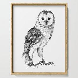 Barn Owl - Drawing In Black Pen Serving Tray