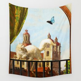 The Butterfly and the Cat Wall Tapestry