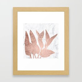Modern faux Rose gold leaf tropical white marble illustration Framed Art Print