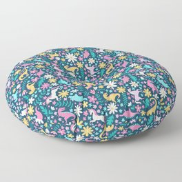 Floral Burst with Dinosaurs + Unicorns in Neon Floor Pillow