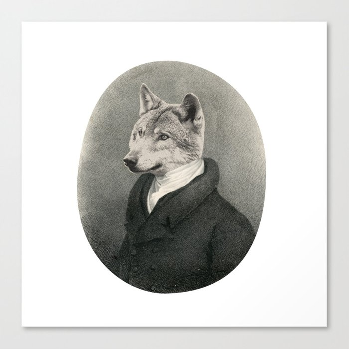 Lithography wolf Canvas Print