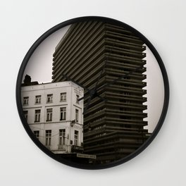 Surrealist City in Black and White Wall Clock