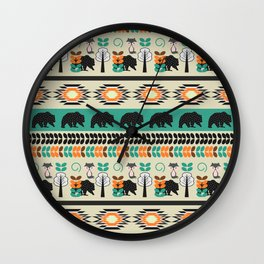 Native spirit with foxes and bears Wall Clock