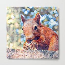 Aquarell Squirrel Metal Print