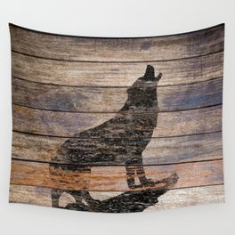 Rustic Wolf Silhouette A383 Wall Tapestry