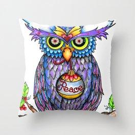 Peace Owl by DeeDee Draz Throw Pillow