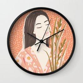 The girl in kimono Wall Clock