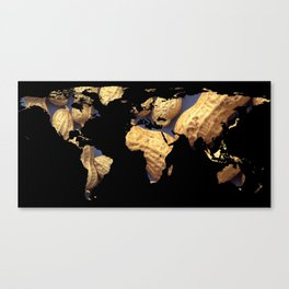 World Map Silhouette - Peanuts Canvas Print