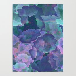 Blue and teal abstract watercolor Poster