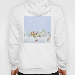 Merry christmas - Ice skating Deer and squirrel are having Winter fun Hoody
