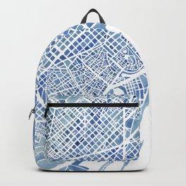 Barcelona Blueprint Watercolor City Map Backpack