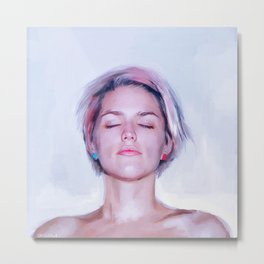 Nude Woman in Lavender, Blue, and Pink Metal Print