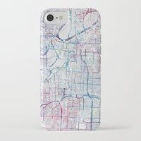 kansas city iPhone & iPod Cases featuring Kansas city map by MapMapMaps.Watercolors