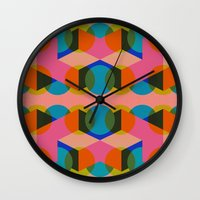 60s Wall Clocks featuring Geometric 60s by Lilly Marfy